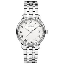 Buy Montblanc 112632 Unisex Tradition Automatic Date Bracelet Strap Watch, Silver/White Online at johnlewis.com