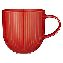 Buy John Lewis Pinstripe Textured Mug, Red Online at johnlewis.com