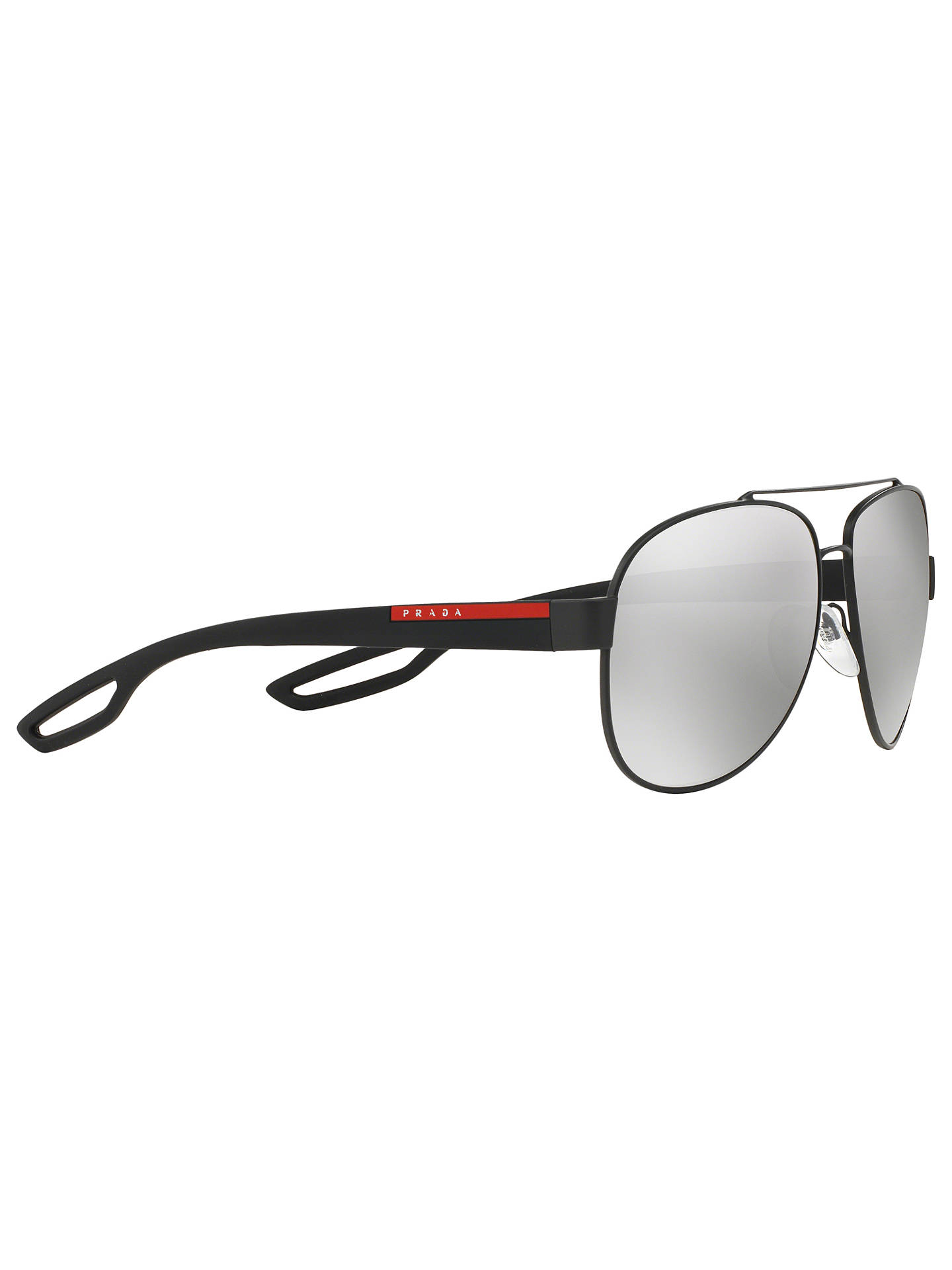 Buy Prada Linea Rossa PS55QS Aviator Polarised Sunglasses, Black Online at johnlewis.com
