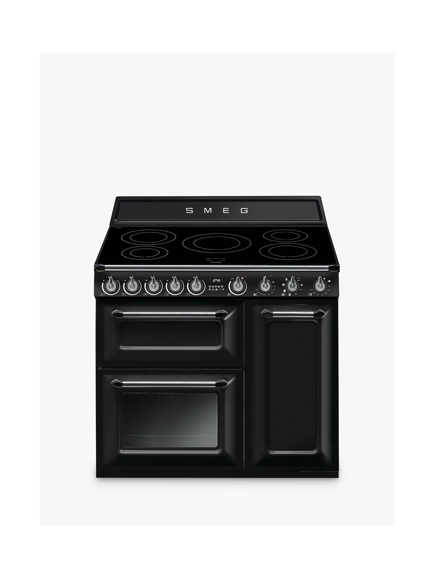 buy smeg tr93ibl 90cm victoria range cooker with induction hob, black  online at johnlewis