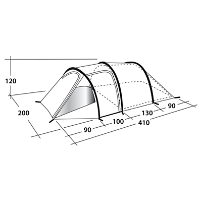 Outwell Earth 3 Tunnel Tent, Grey/Blue