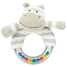 Buy John Lewis Hippo Plastic Ring Rattle, Grey/White Online at johnlewis.com