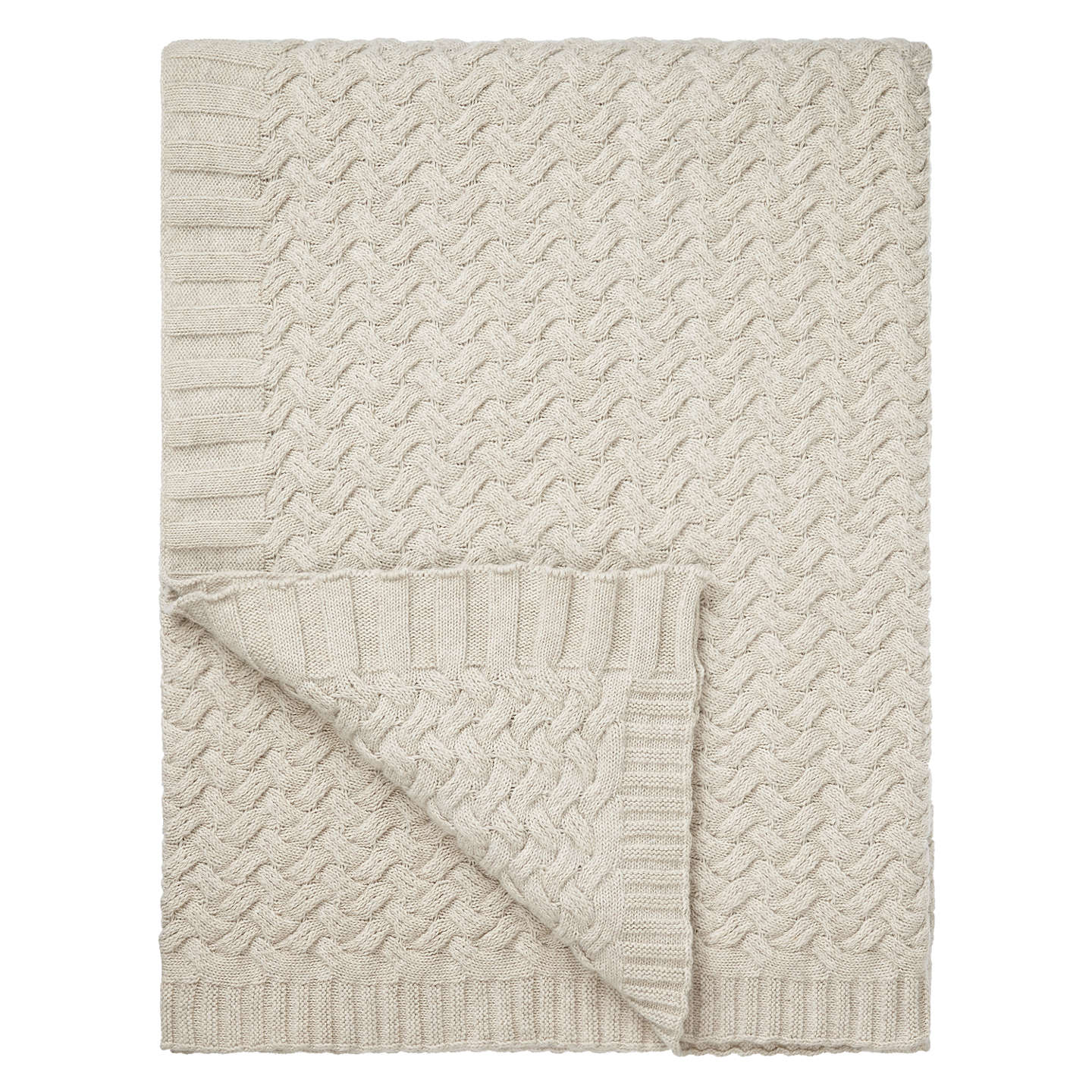 BuyJohn Lewis Knitted Waves Throw, Putty Online at johnlewis.com