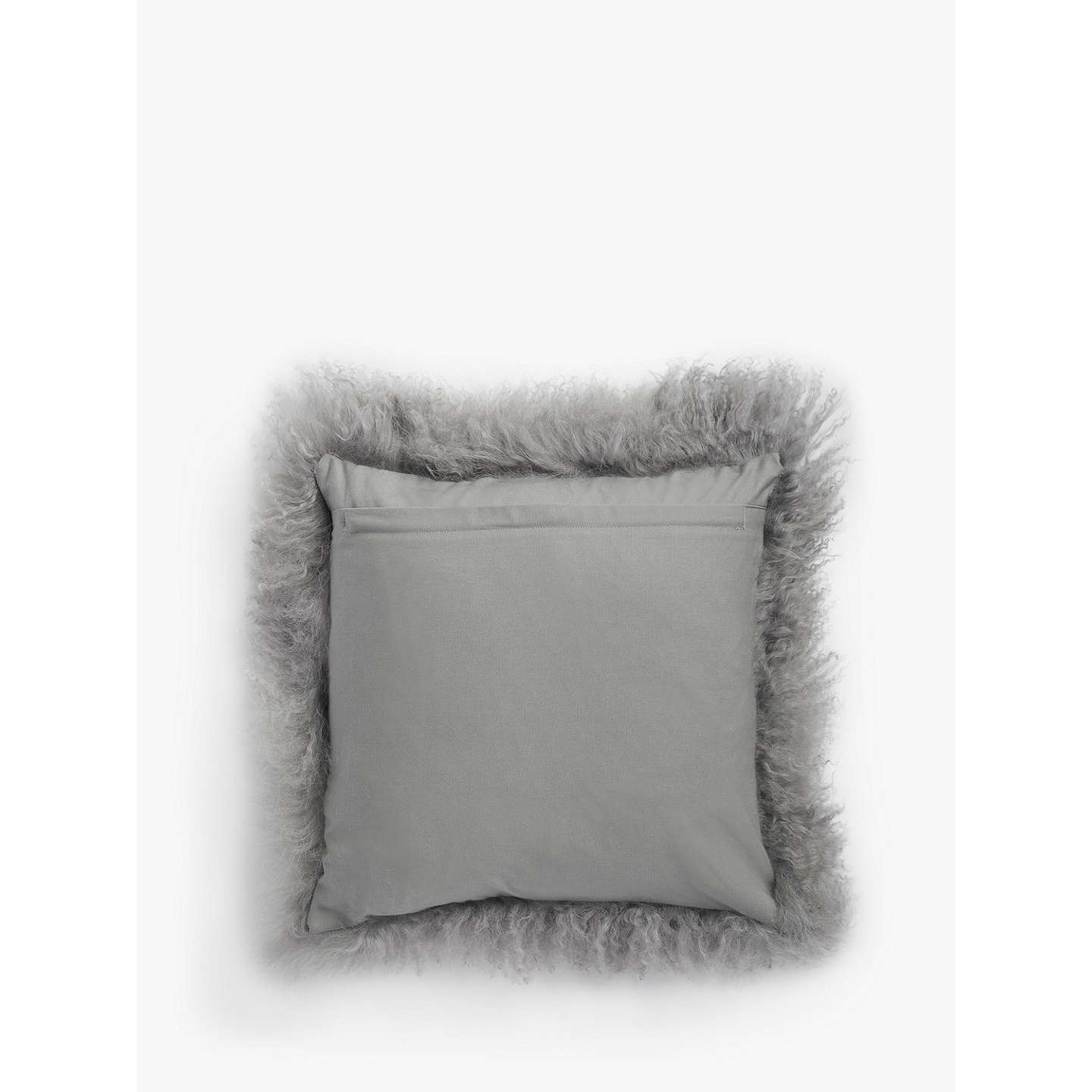 BuyCroft Collection Mongolian Sheep Hair Cushion, Soft Grey Online at johnlewis.com