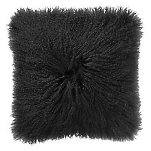 Buy John Lewis Mongolian Faux Fur Cushion, Steel Online at johnlewis.com
