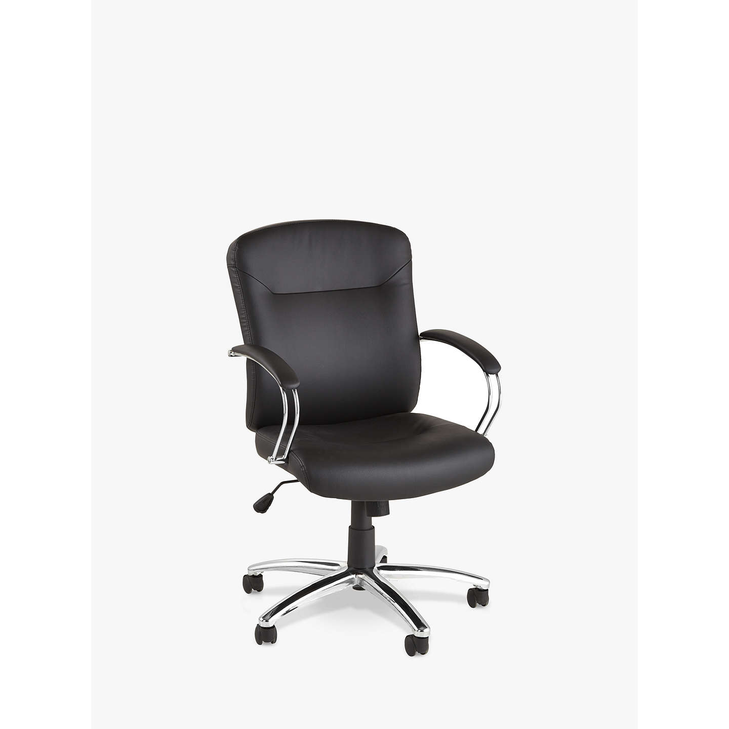 John Lewis Warner Faux Leather Office Chair Black At Johnlewis Com