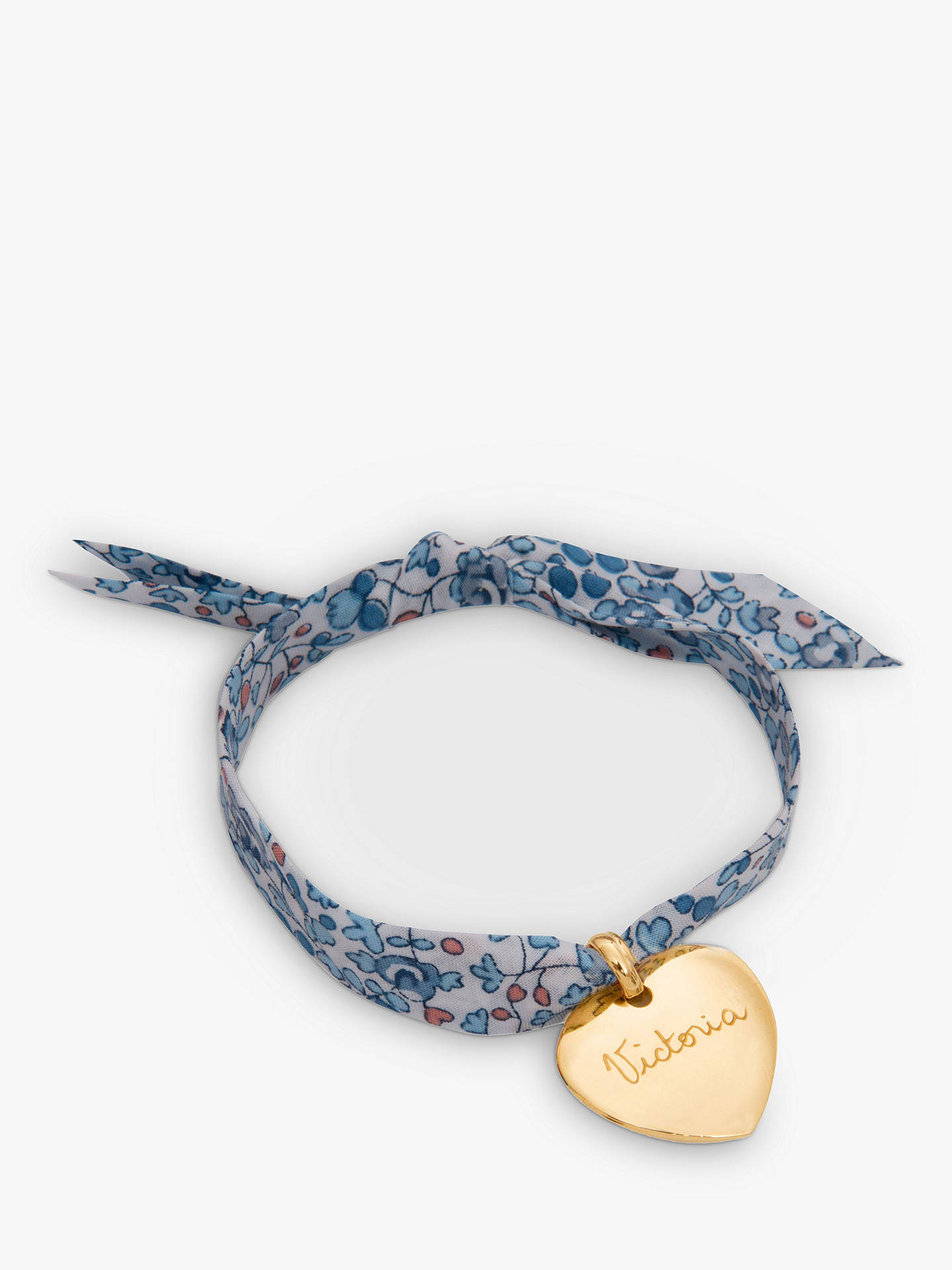 BuyMerci Maman Personalised 18ct Gold Plated Heart Liberty Bracelet, Eloise Blue Online at johnlewis.com