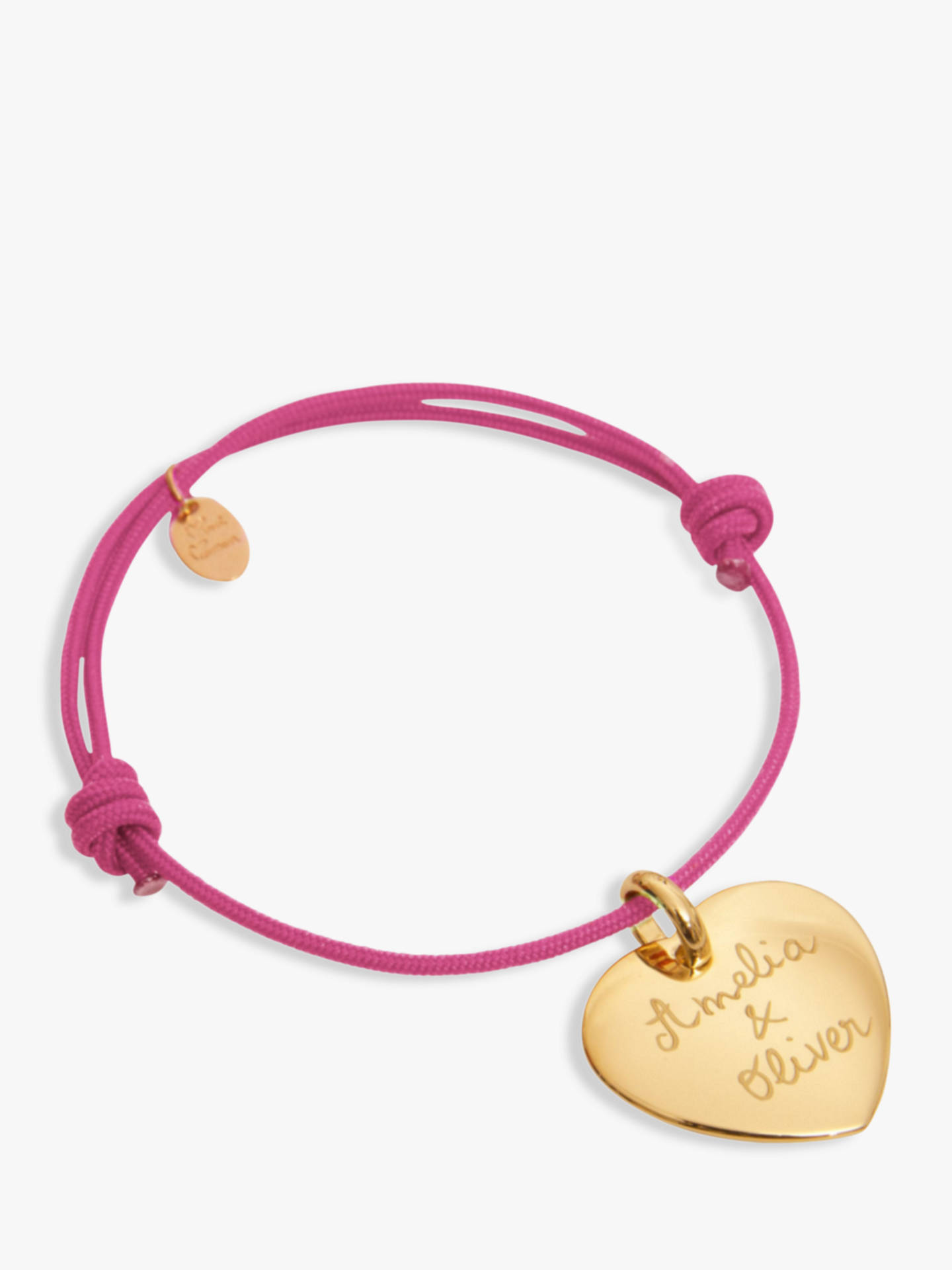 BuyMerci Maman Personalised 18ct Gold Plated Heart Bracelet, Fuchsia Online at johnlewis.com