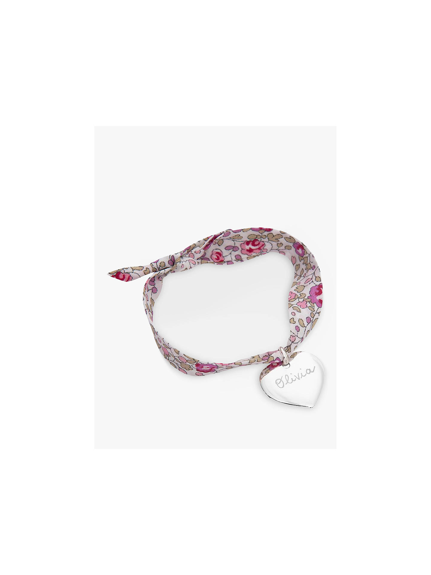 BuyMerci Maman Personalised Sterling Silver Heart Liberty Bracelet, Eloise Pink Online at johnlewis.com