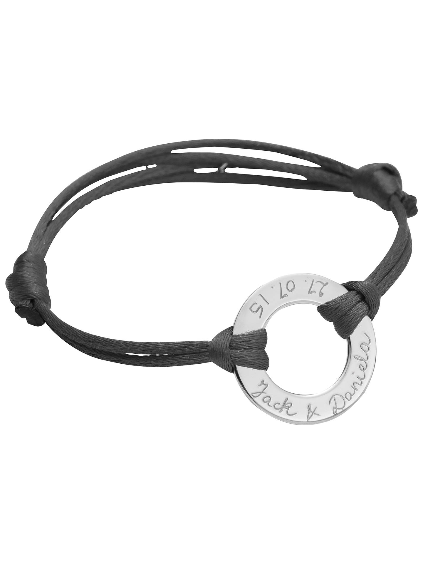 Buy Merci Maman Personalised Sterling Silver Eternity Bracelet, Dark Grey Online at johnlewis.com
