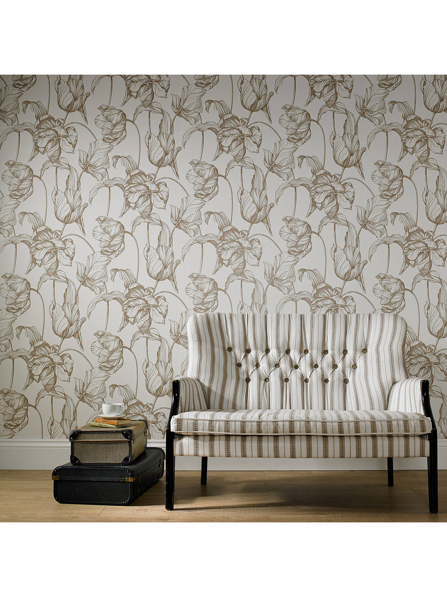 ... Buy Laurence Llewelyn Bowen by Graham & Brown Harem Tulips Wallpaper, Gold, 20-