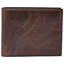 Buy Fossil Derrick Flip ID Bifold, Dark Brown Online at johnlewis.com