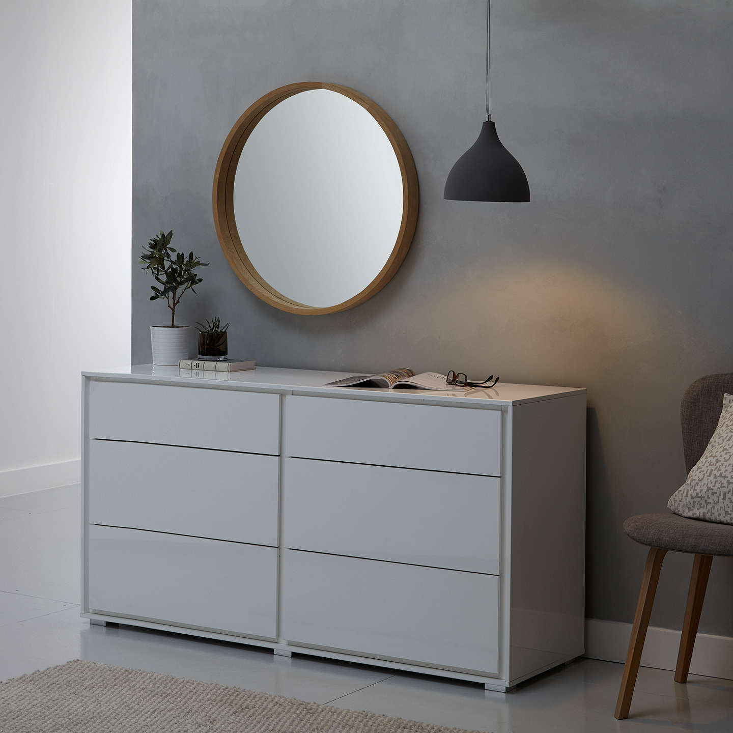 john lewis round oak scandi mirror 70 x 70cm natural at. Black Bedroom Furniture Sets. Home Design Ideas