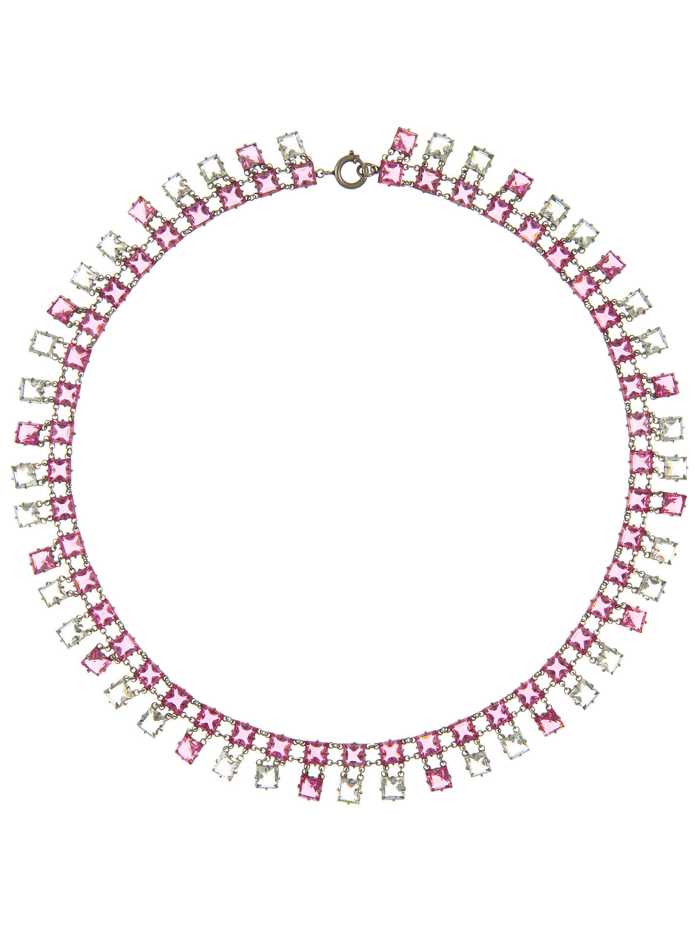 230ae30df6 Eclectica Vintage 1930s Deco Platinin Necklace, Pink at John Lewis ...