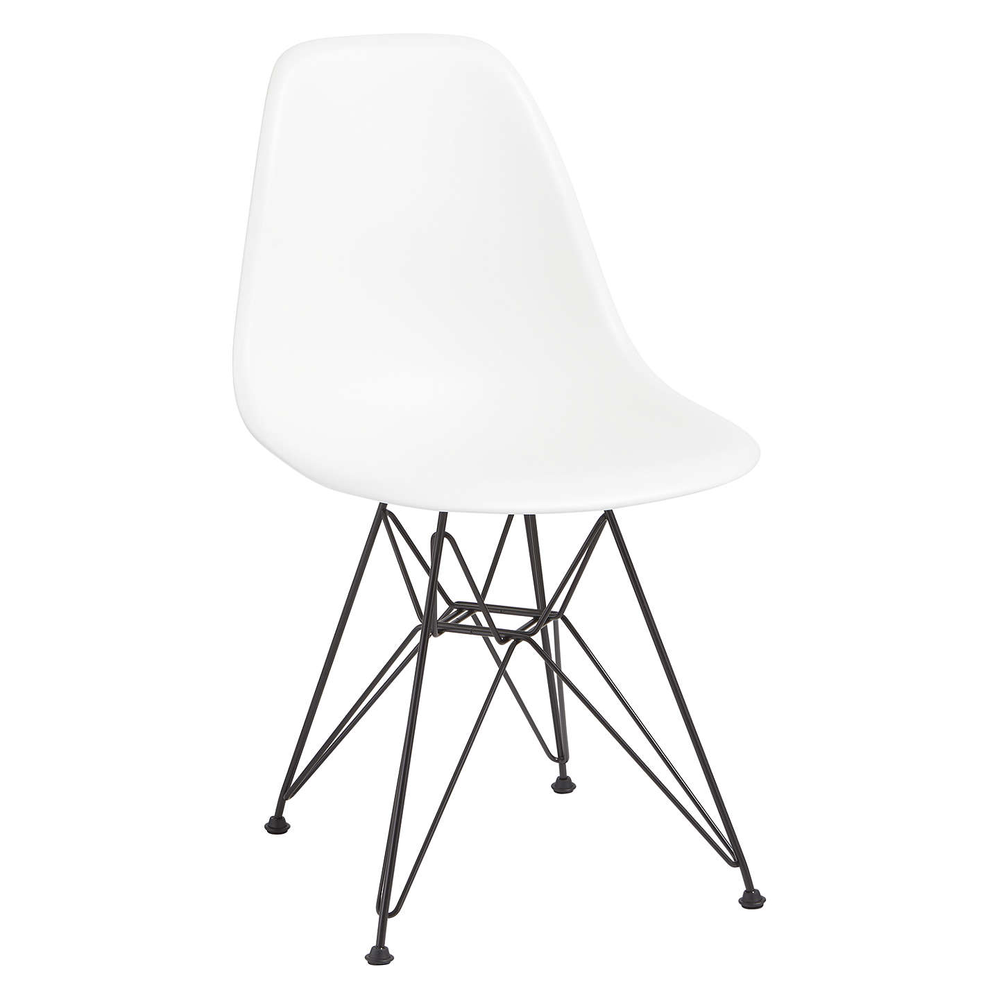 BuyVitra Eames DSR Side Chair, Black Metal Leg, White Online At  Johnlewis.com