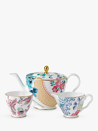 Wedgwood Cuckoo And Butterfly Bloom Teapot, Sugar Bowl & Creamer