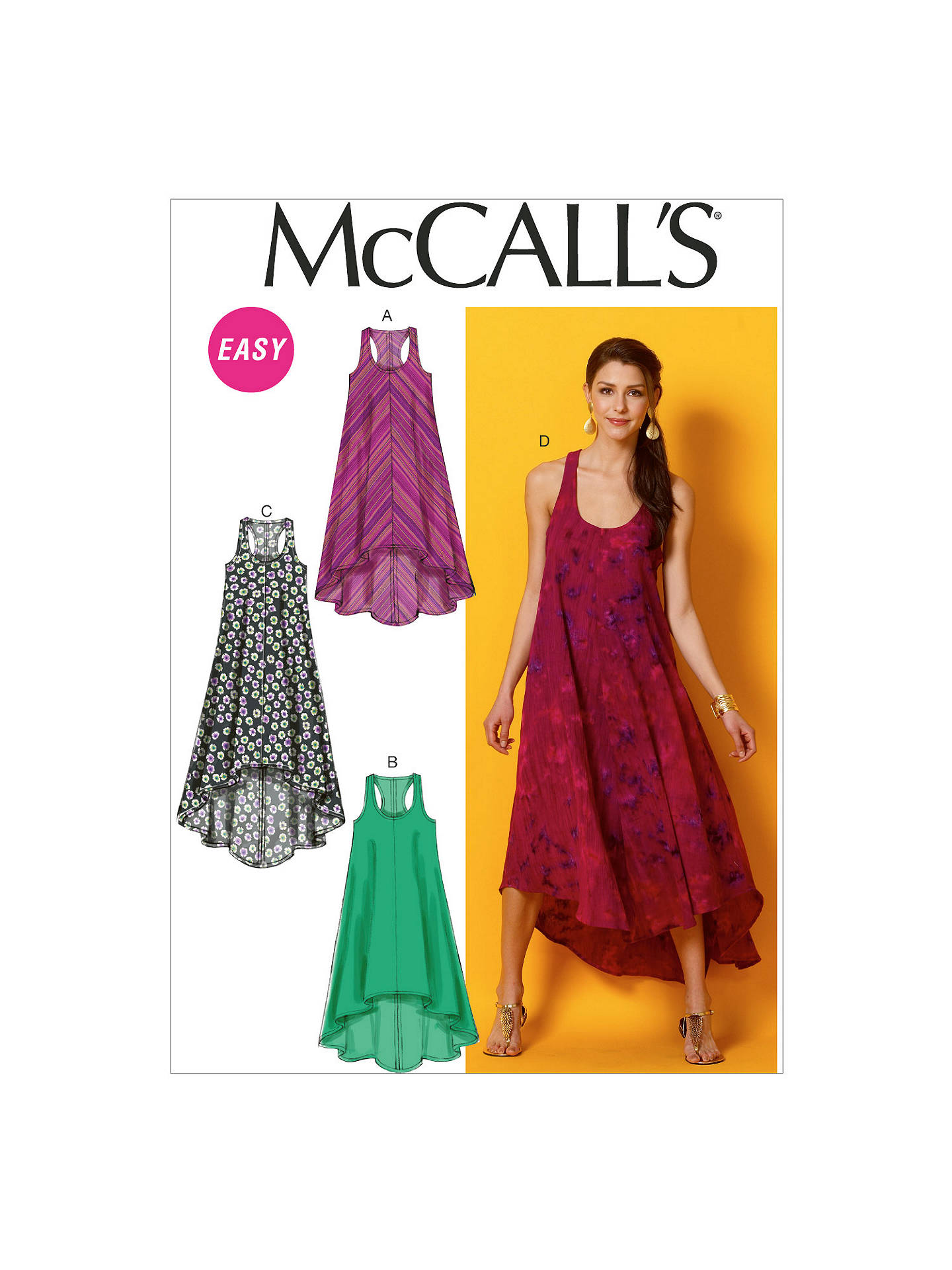 c407f8615295f Buy McCall's Scoop Neck Racer Back Asymmetric Dress Sewing Pattern, Y  Online at johnlewis.