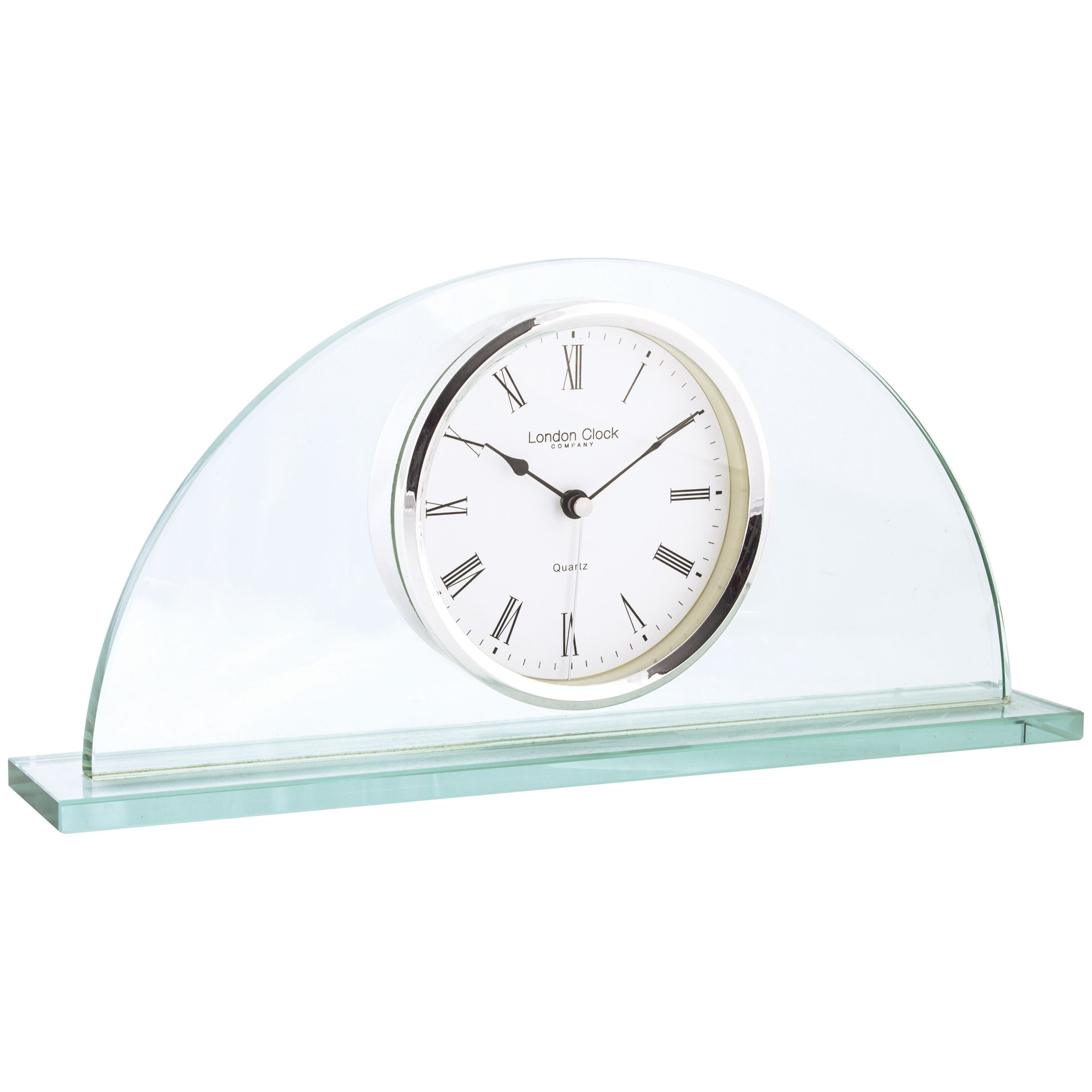 London Clock Company London Clock Company Glass Half Moon Mantel Clock, Clear