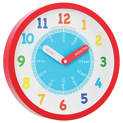 London Clock Company Tell The Time Children's Wall Clock, Red