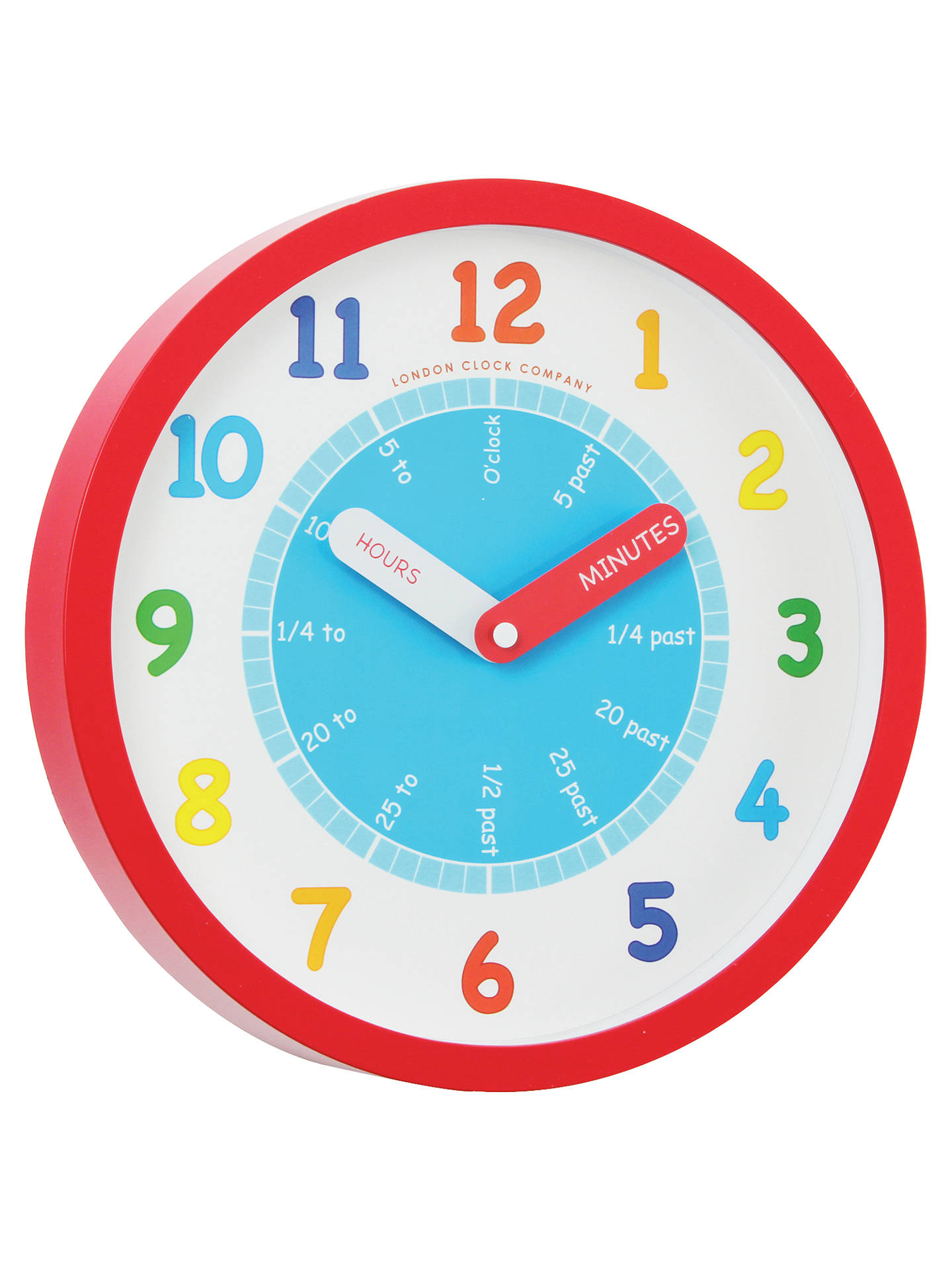 BuyLondon Clock Company Tell The Time Children's Wall Clock, Dia.25cm, Red Online at johnlewis.com
