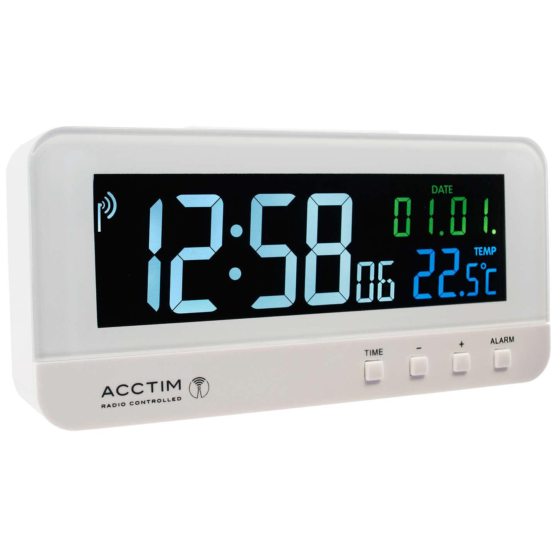 Acctim Radio Controlled Lcd Alarm Clock White At John Lewis