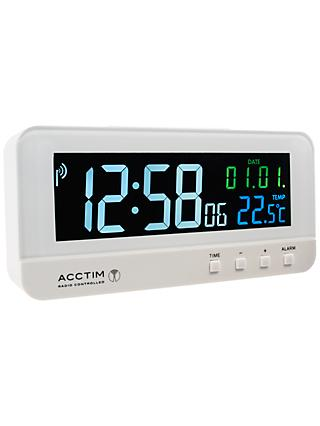 Acctim Radio Controlled LCD Digital Alarm Clock, White