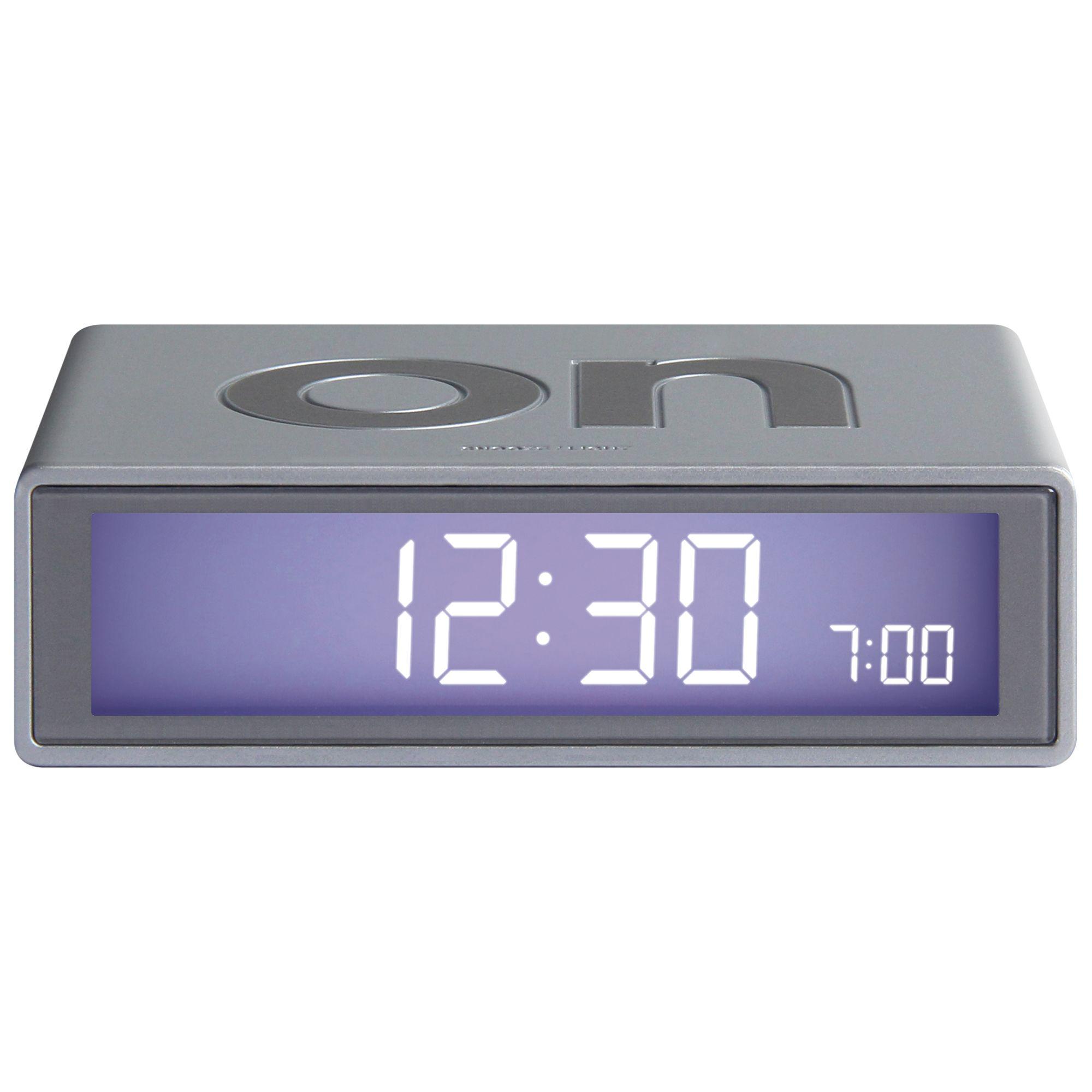 Lexon Dark Grey Mini FLIP LCD Bedside Travel Alarm Clock with Snooze