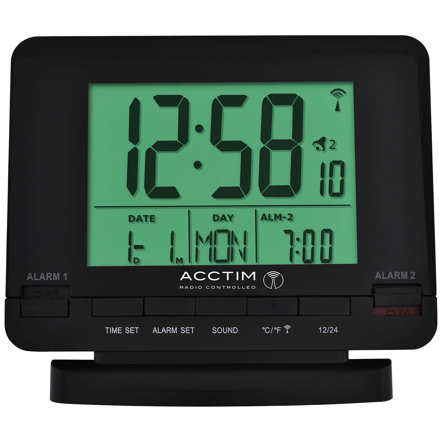 BuyAcctim Radio Controlled Couples Alarm Clock Black Online At Johnlewis