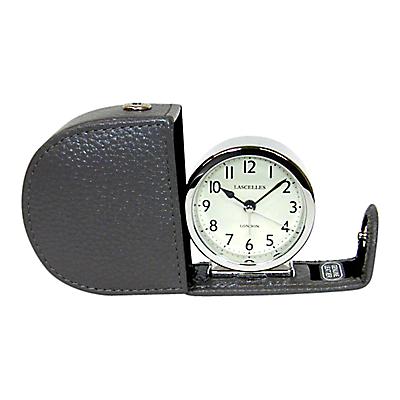Lascelles Travel Alarm Clock, Grey Leather