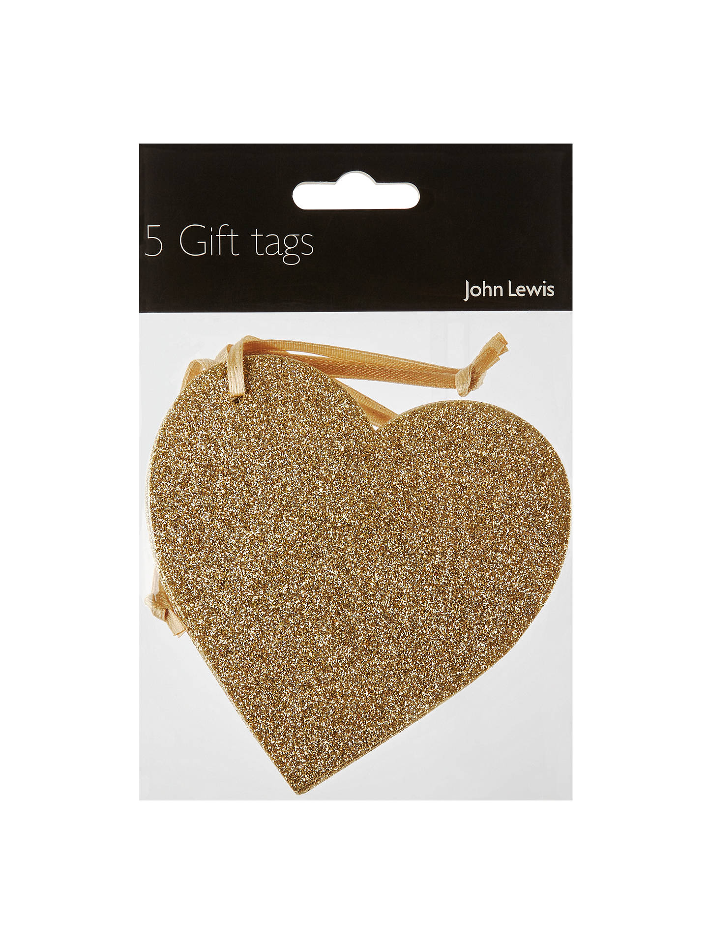 BuyJohn Lewis & Partners Glitter Heart Gift Tags, Gold, Pack of 5 Online at johnlewis.com