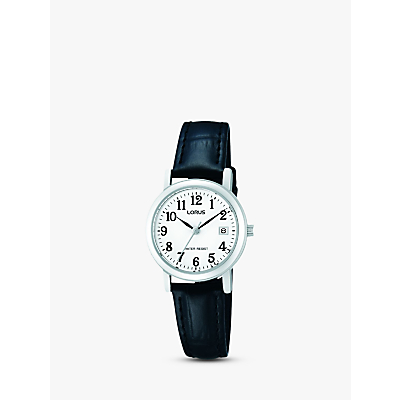 Lorus RH765AX9 Women's Date Leather Strap Watch, Black/White