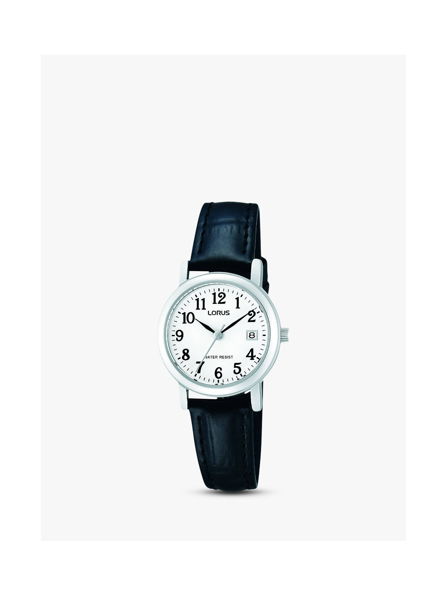 Buy Lorus RH765AX9 Women's Date Leather Strap Watch, Black/White Online at johnlewis.com