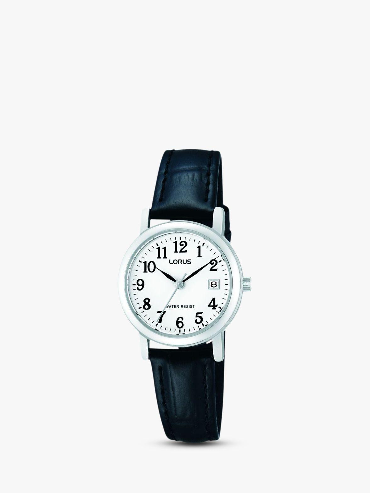 Lorus Lorus RH765AX9 Women's Date Leather Strap Watch, Black/White