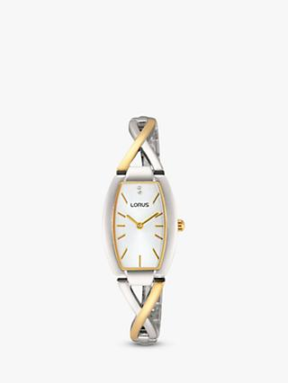 Lorus RRW51EX9 Women's Two Tone Bracelet Strap Watch, Gold/Silver
