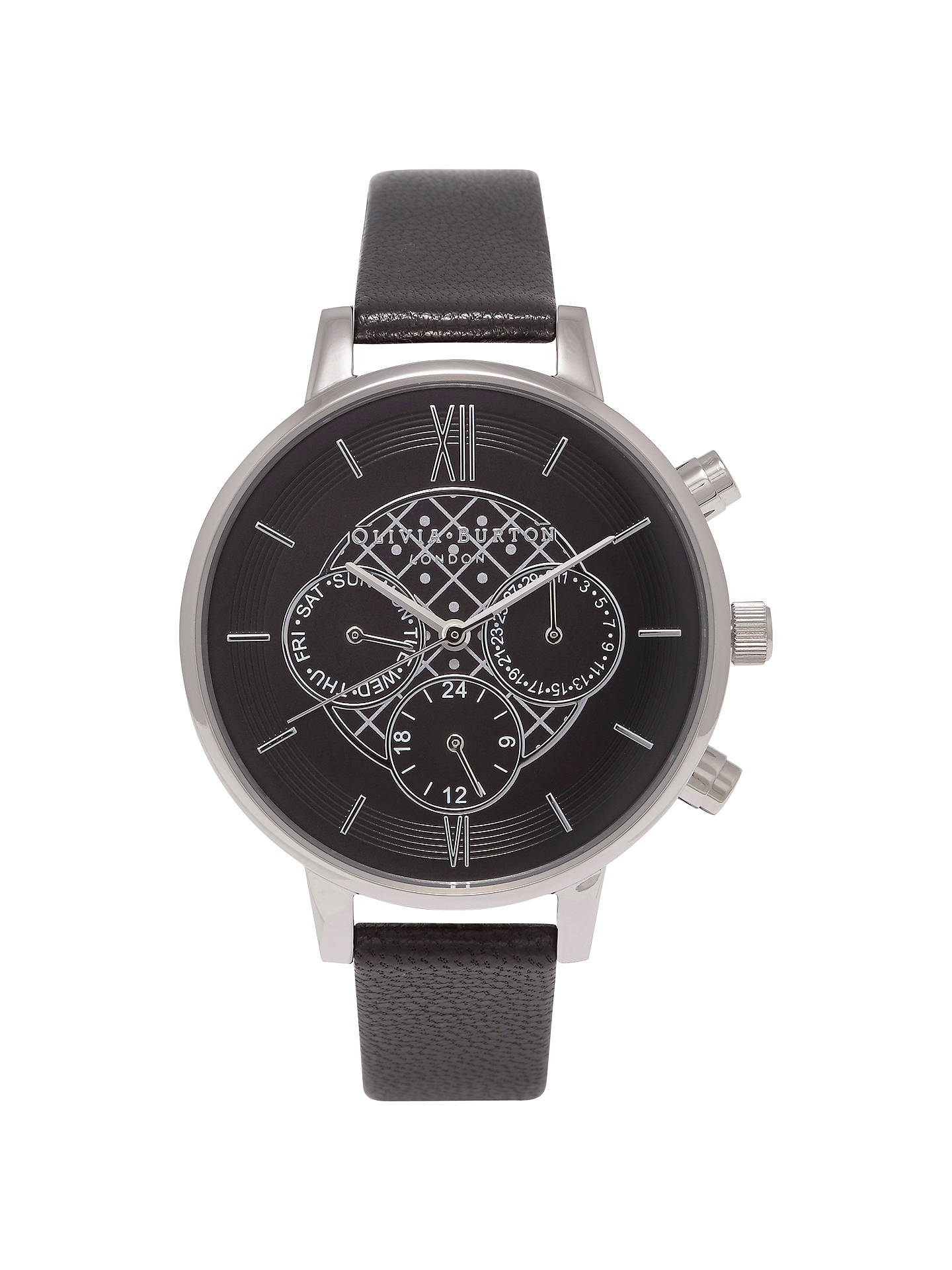 Buy Olivia Burton OB15CG55 Women's Chrono Detail Chronograph Leather Strap Watch, Black/Silver Online at johnlewis.com