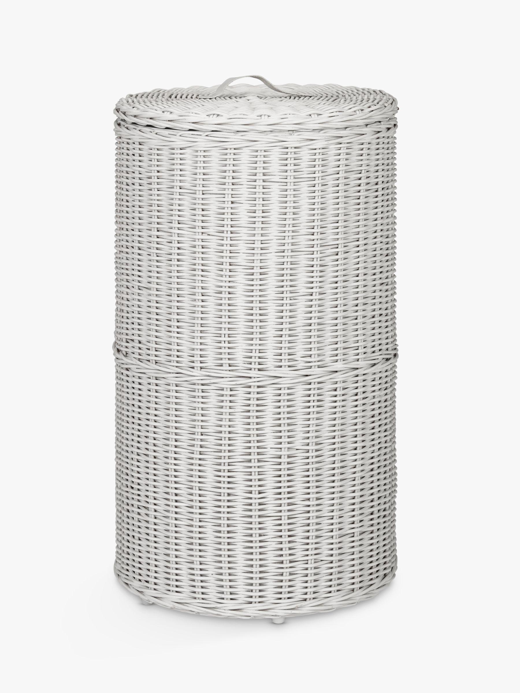 John Lewis Partners Rattan Round Laundry Basket Grey At John Lewis Partners