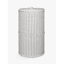 Buy Croft Collection Rattan Round Laundry Bin, Grey Online at johnlewis.com