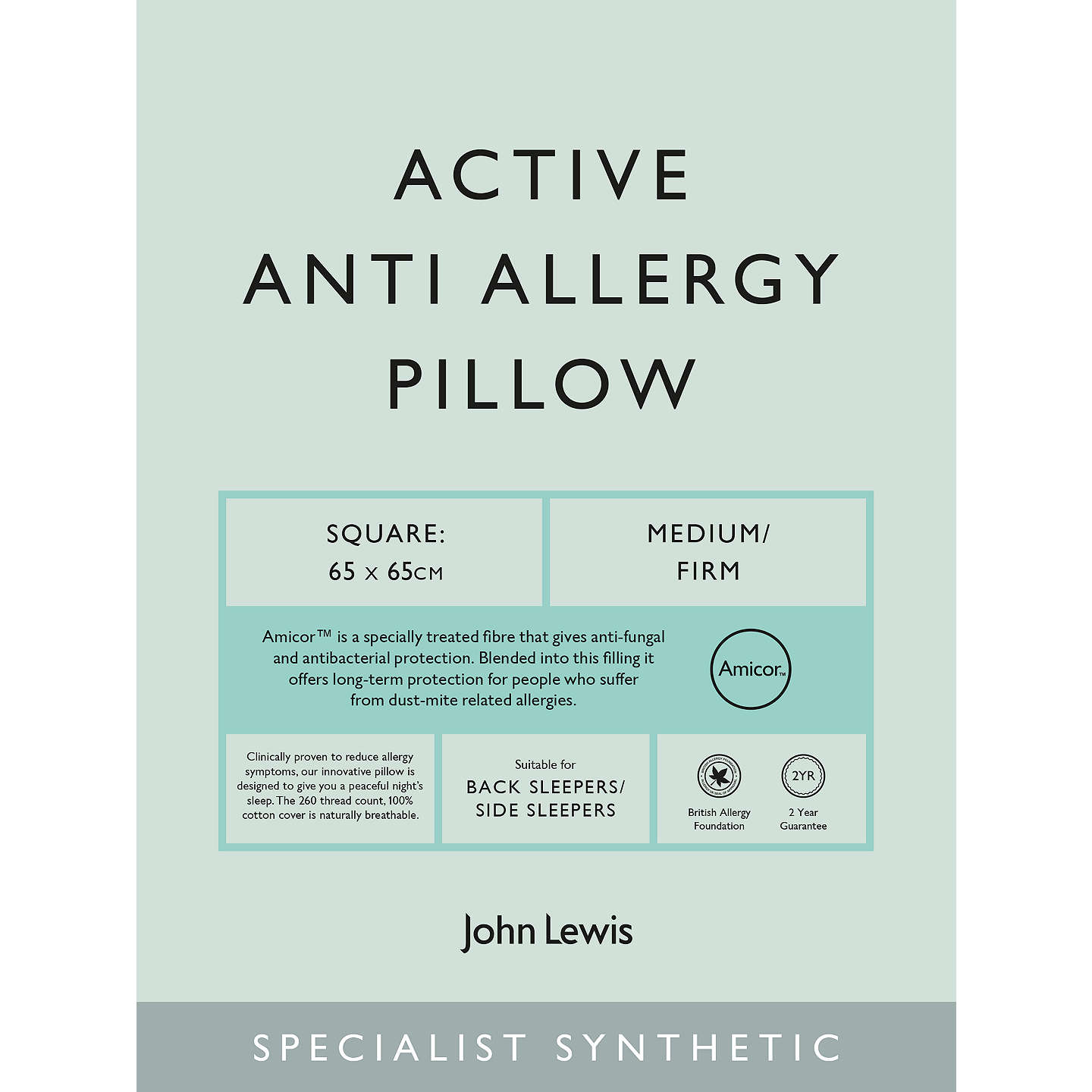 BuyJohn Lewis Specialist Synthetic Active Anti Allergy Square Pillow, Medium/Firm Online at johnlewis.com