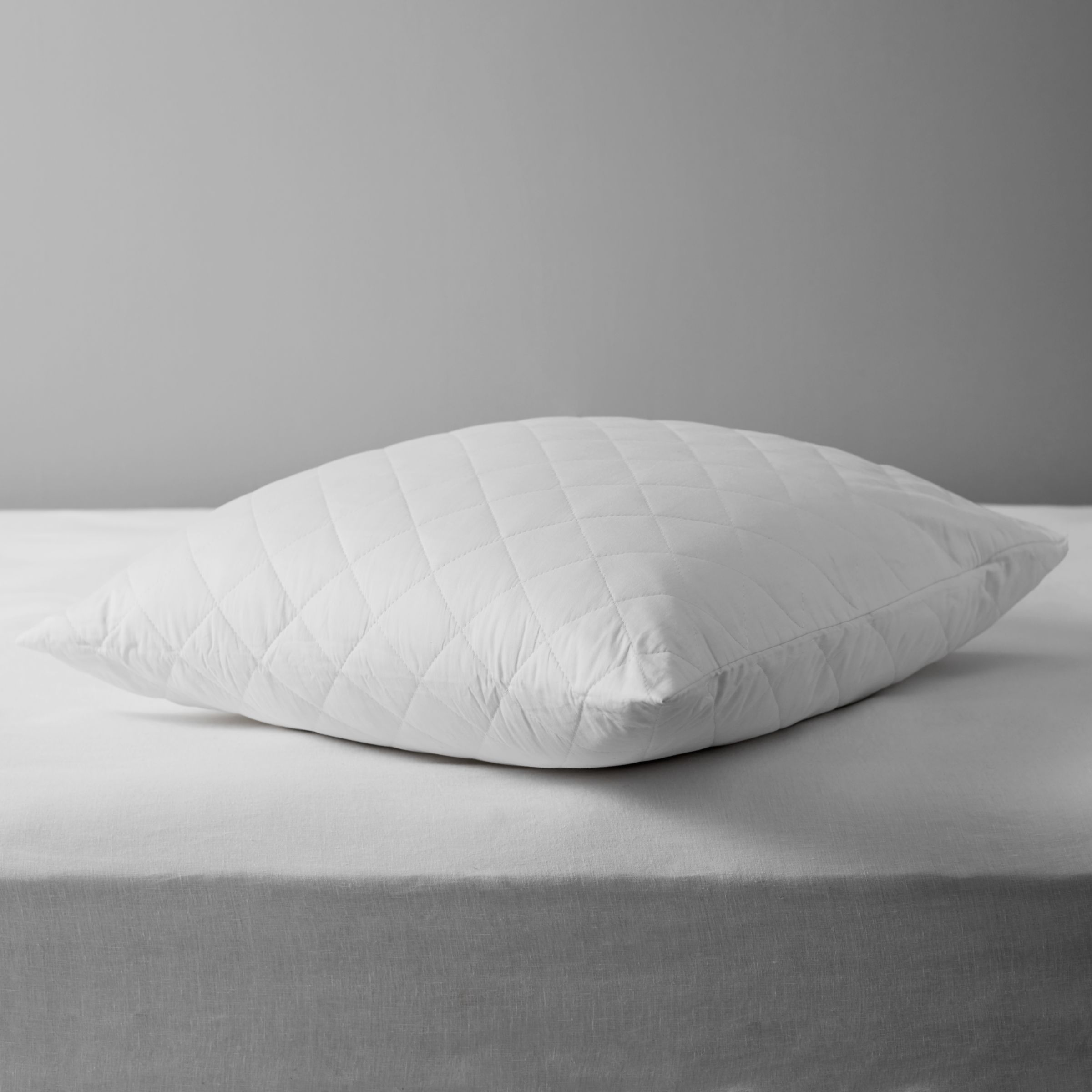 John Lewis & Partners Natural Cotton Quilted Square Pillow Protector
