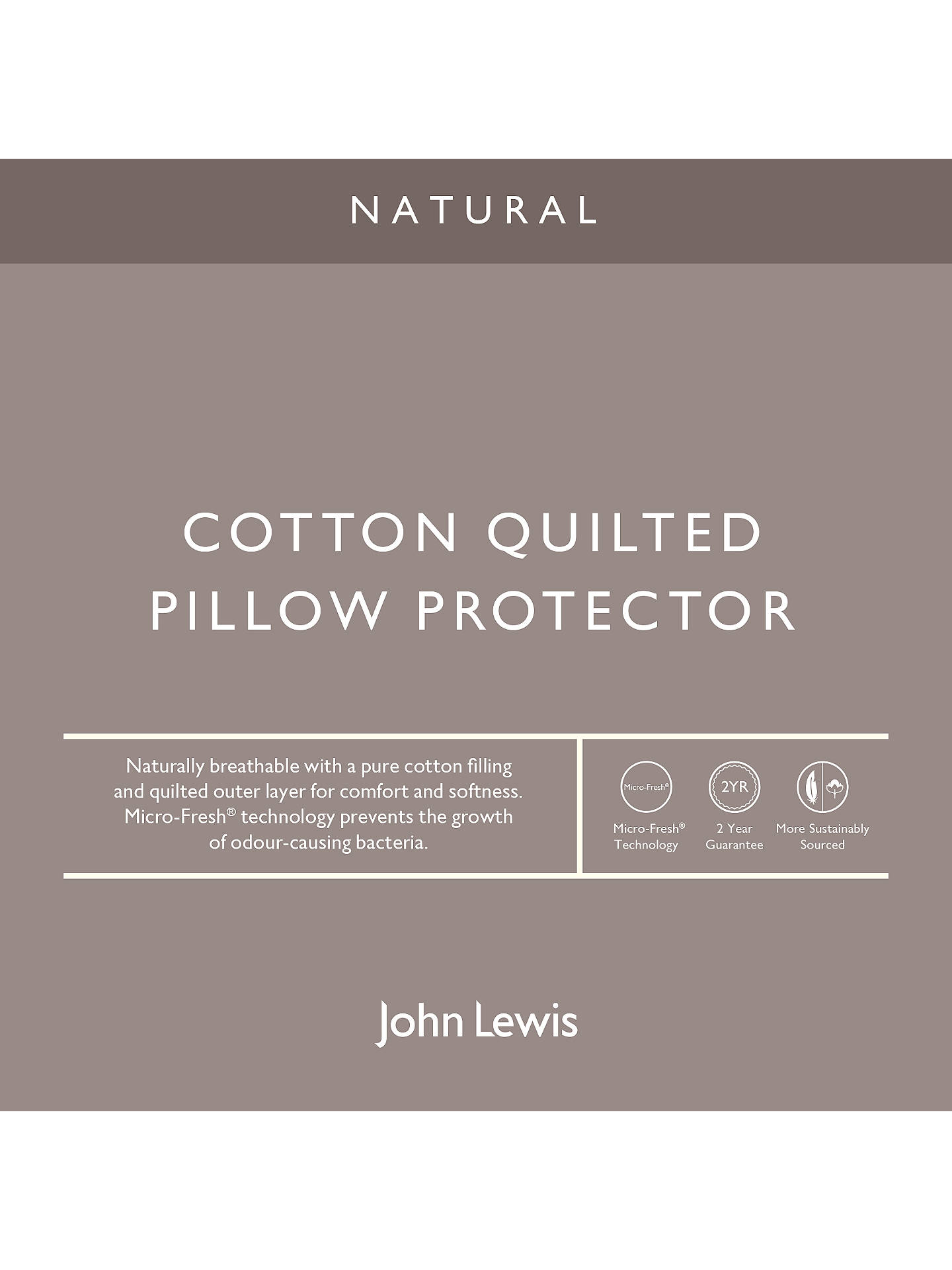 BuyJohn Lewis & Partners Natural Cotton Quilted Square Pillow Protector Online at johnlewis.com