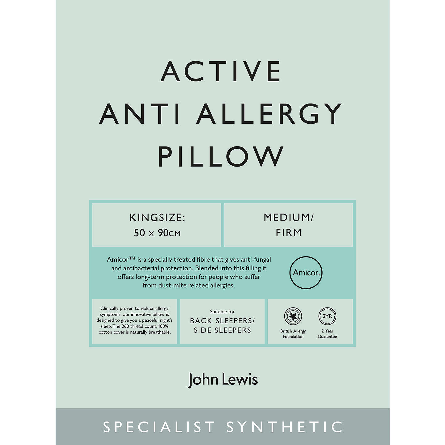 BuyJohn Lewis Specialist Synthetic Active Anti Allergy Kingsize Pillow, Medium/Firm Online at johnlewis.com