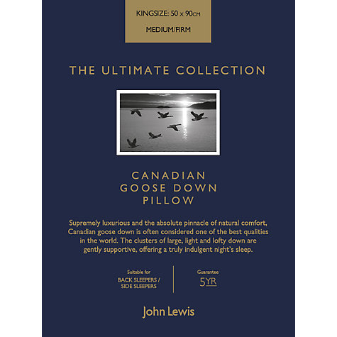 Buy John Lewis The Ultimate Collection Canadian Goose Down Kingsize Pillow, Medium/Firm Online at johnlewis.com