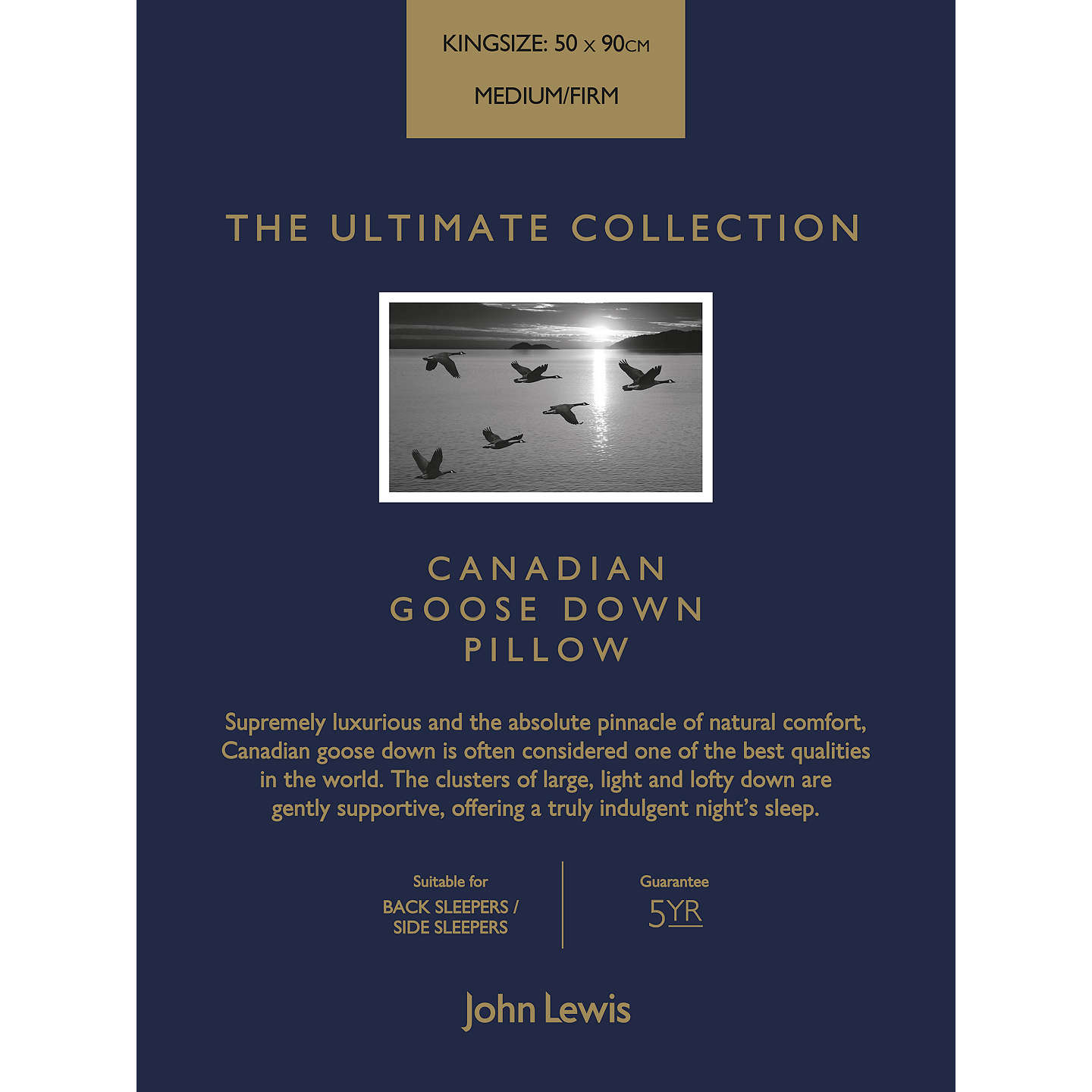 BuyJohn Lewis The Ultimate Collection Canadian Goose Down Kingsize Pillow, Medium/Firm Online at johnlewis.com