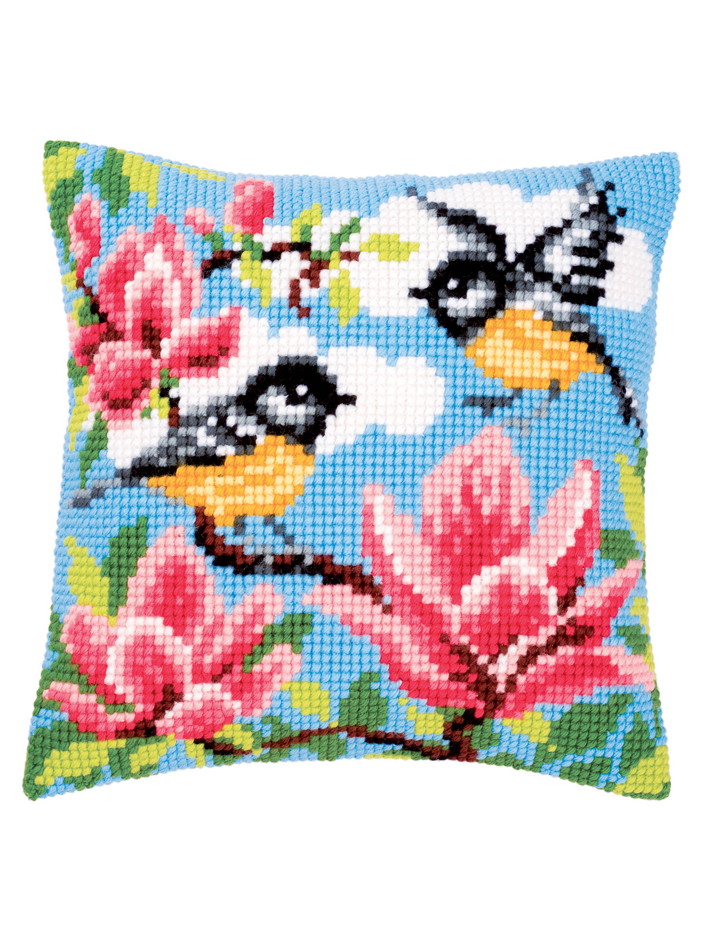 Birds And Pink Flower Cushion Kit Multi At John Lewis Partners