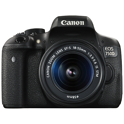 Image of Canon EOS 750D Digital SLR with 18-55mm IS STM Lens, HD 1080p, 24.2MP, Wi-Fi, NFC, 3.0 Vari Angle LCD Screen