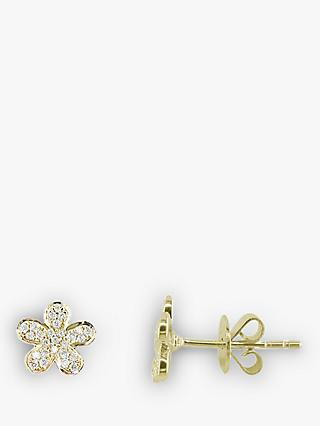 E.W Adams 18ct Gold Flower Diamond Stud Earrings, Gold