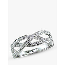 Buy EWA 18ct White Gold Diamond Set Weave Ring, White, N Online at johnlewis.com