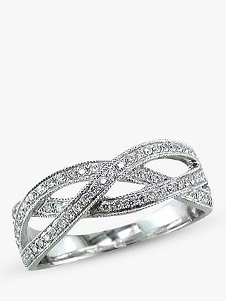 E.W Adams 18ct White Gold Diamond Set Weave Ring