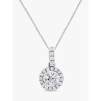 E.W Adams 18ct White Gold Diamond Claw Set Cluster Pendant Necklace, White Gold