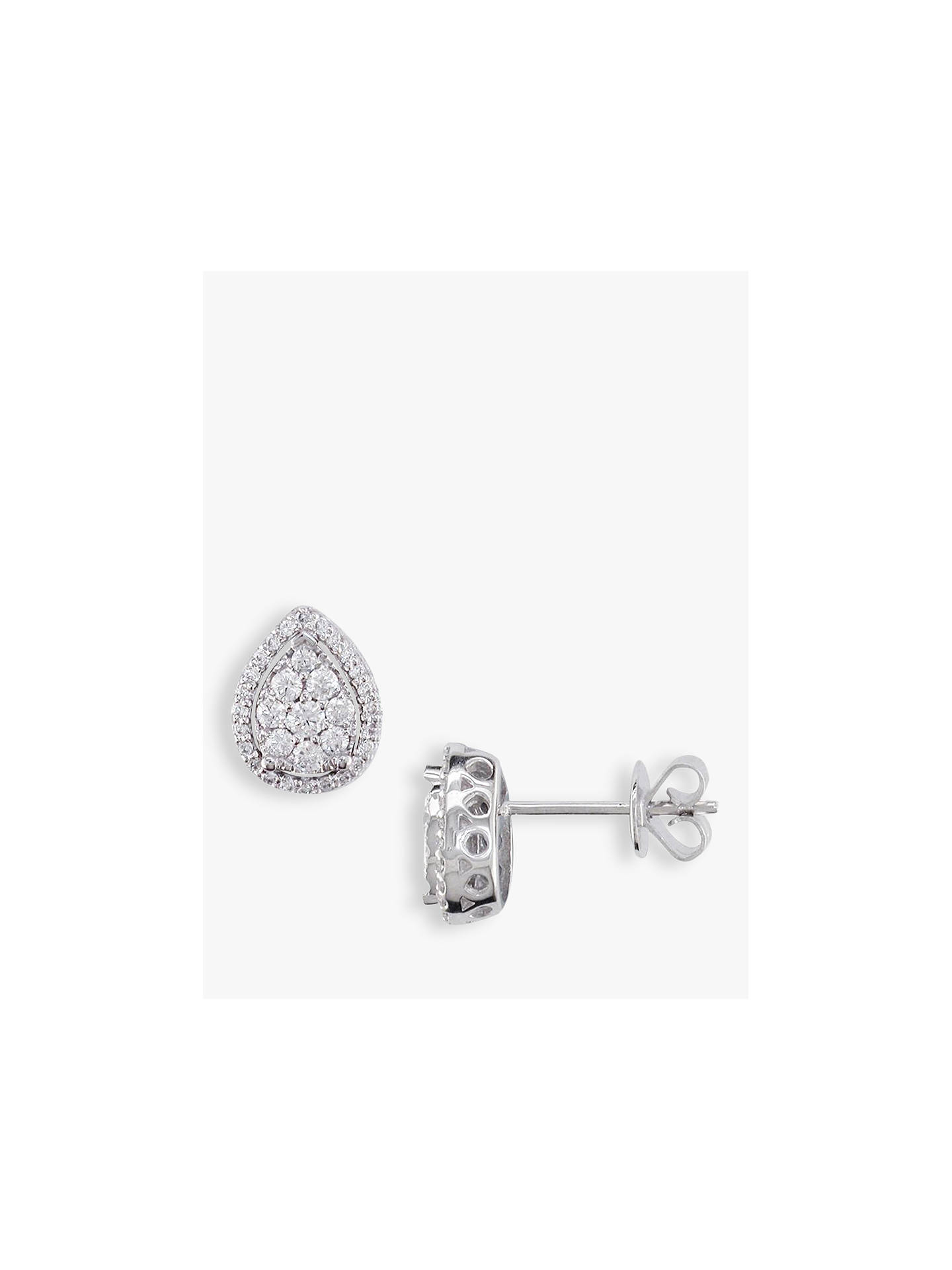 2b2d9ca67 Buy E.W Adams 18ct White Gold Pear-Shaped Diamond Cluster Stud Earrings,  White Gold